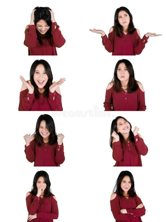 Collage de jolie fille avec de diverses expressions images libres de droits
