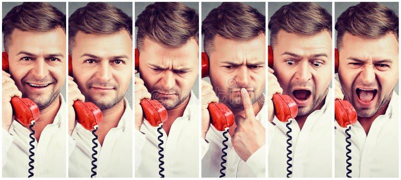 Collage de l'homme parlant au téléphone photographie stock