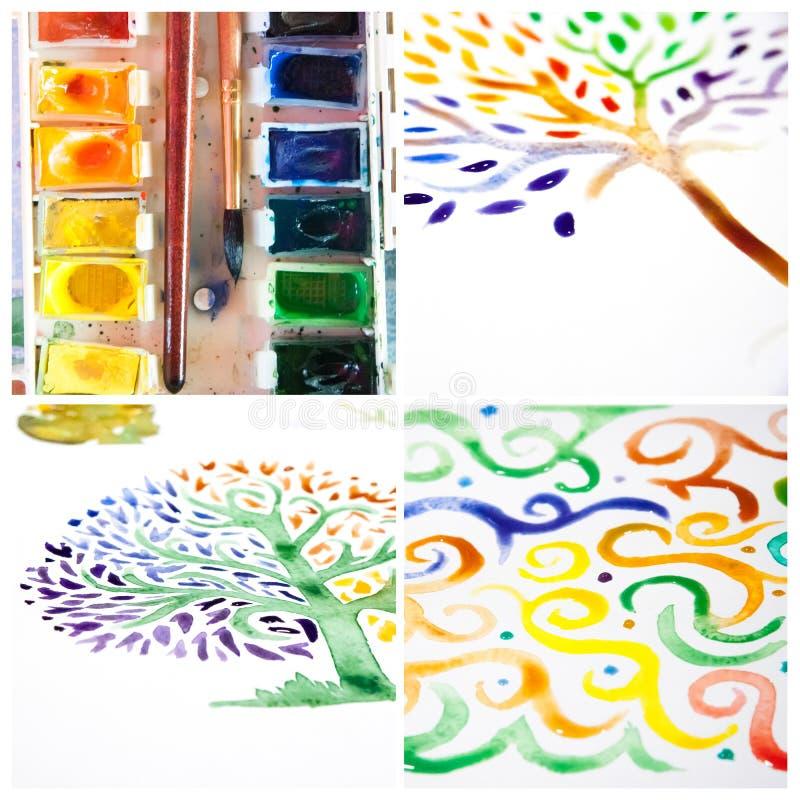 Collage de la acuarela - ornamento y árboles hechos a mano libre illustration