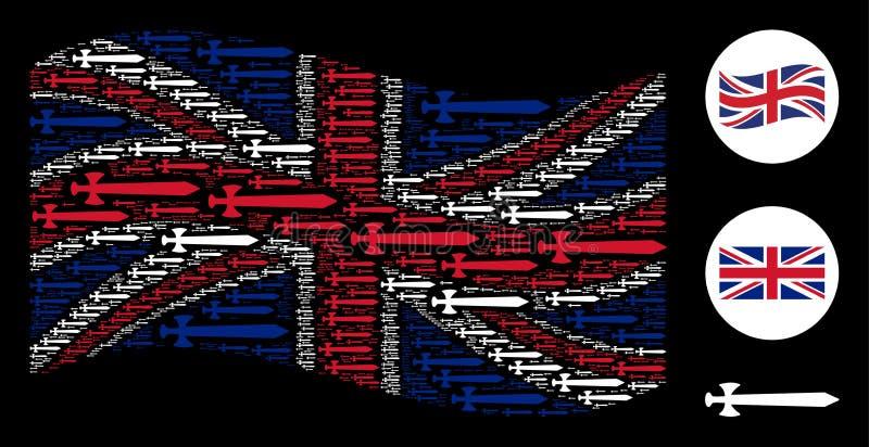 Collage de la bandera de Reino Unido que agita de los iconos medievales de la espada libre illustration