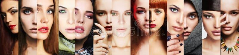 Collage de la belleza Caras de mujeres Primer del maquillaje fotografía de archivo