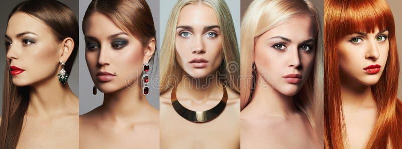 Collage de la belleza Maquillaje, lápiz labial y sombra de ojos Diversas muchachas hermosas imagen de archivo