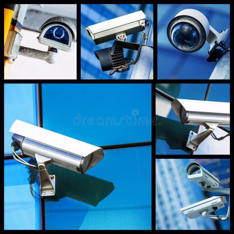 Collage de la cámara CCTV o del sistema de vigilancia de la seguridad del primer imagen de archivo libre de regalías