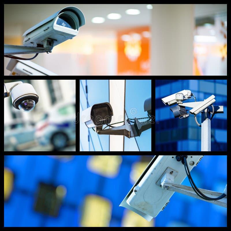 Collage de la cámara CCTV o del sistema de vigilancia de la seguridad del primer fotografía de archivo