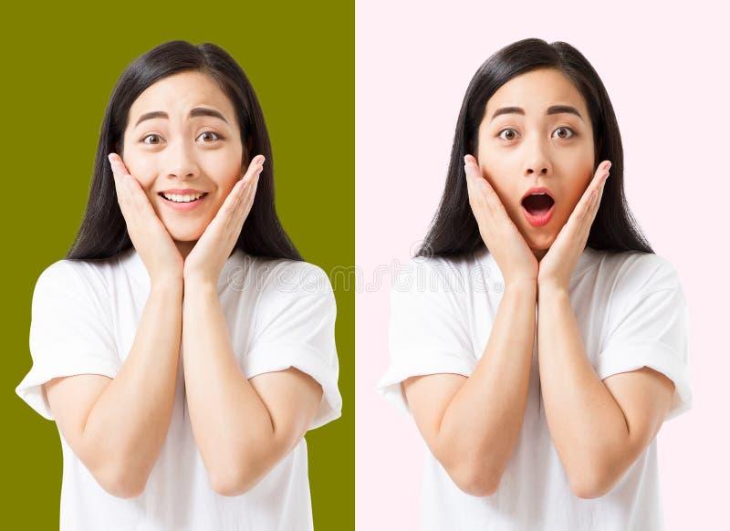 Collage de la cara asiática emocionada chocada sorprendida de la mujer aislada en fondo colorido Muchacha asiática joven en camis foto de archivo