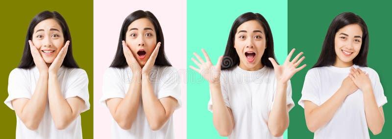 Collage de la cara asiática emocionada chocada sorprendida de la mujer aislada en fondo colorido Muchacha asiática joven en camis fotografía de archivo