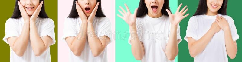 Collage de la cara asiática emocionada chocada sorprendida de la mujer aislada en fondo colorido Muchacha asiática joven en camis imagen de archivo