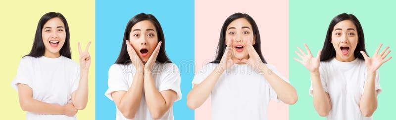 Collage de la cara asiática emocionada chocada sorprendida de la mujer aislada en fondo colorido Muchacha asiática joven en camis imagenes de archivo