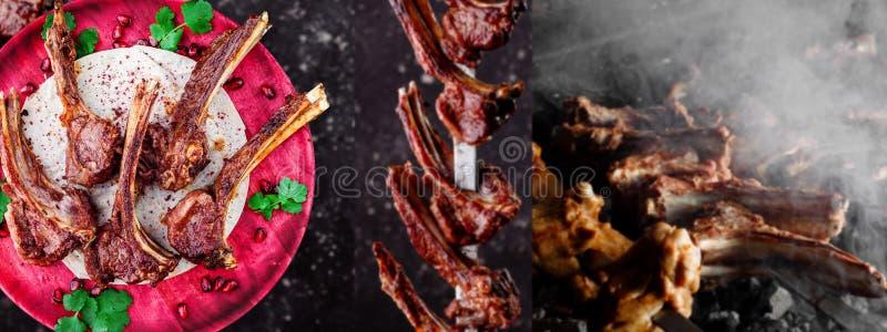 Collage de la carne de las costillas de carne de vaca costillas de carne de vaca en una placa magenta de madera, en costillas de  imagen de archivo
