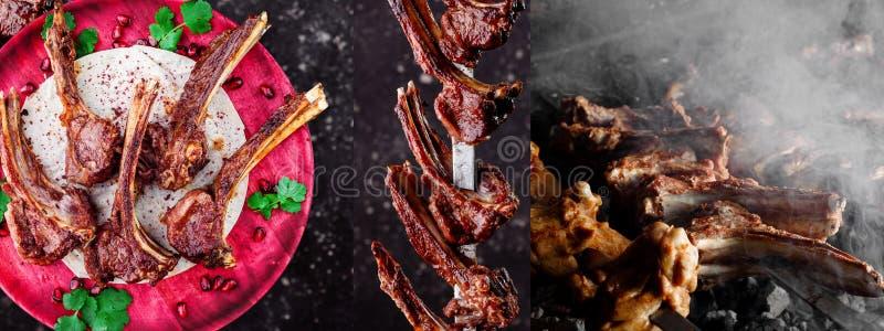 Collage de la carne de las costillas de carne de vaca costillas de carne de vaca en una placa magenta de madera, en costillas de  fotos de archivo libres de regalías