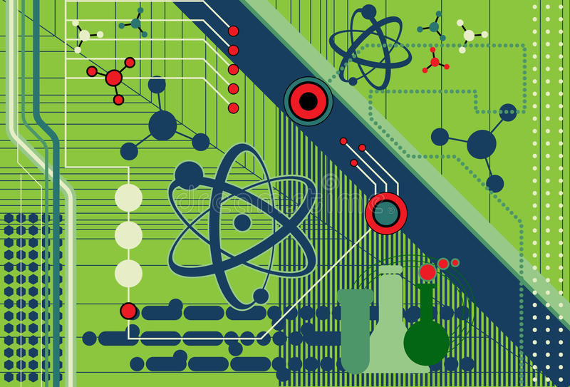 Collage de la ciencia y de la tecnología libre illustration