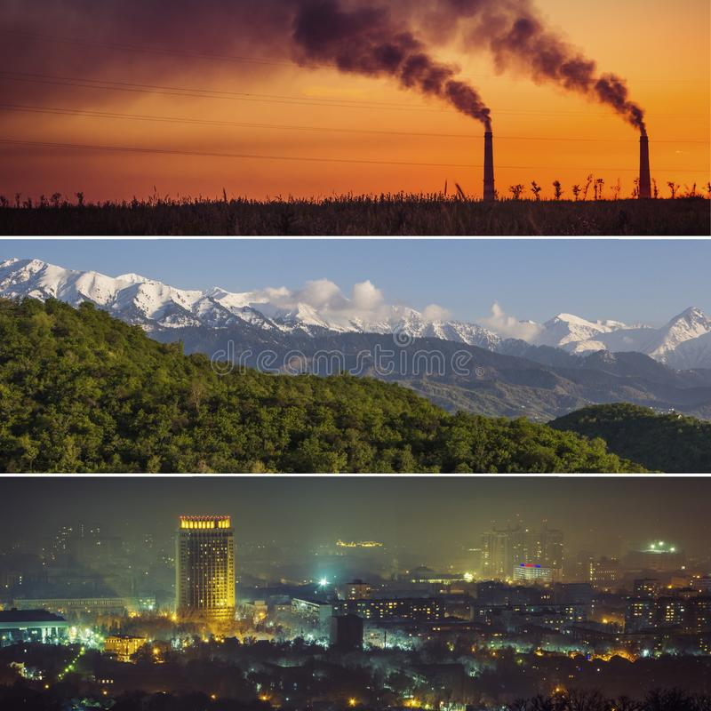 Collage de la ciudad y naturaleza de Almaty, ambiente, montañas y ka foto de archivo libre de regalías