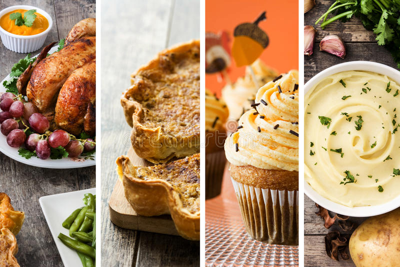Collage de la comida de la acción de gracias Turquía, pastel de calabaza, puré de patata y magdalenas de la acción de gracias fotografía de archivo