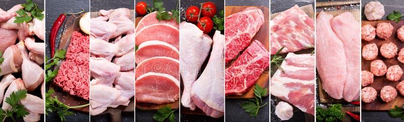 Collage de la comida de la diversos carne fresca y pollo imágenes de archivo libres de regalías