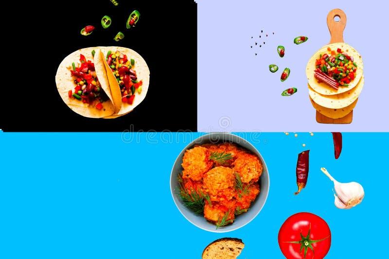 Collage de la comida mexicana tradicional imágenes de archivo libres de regalías