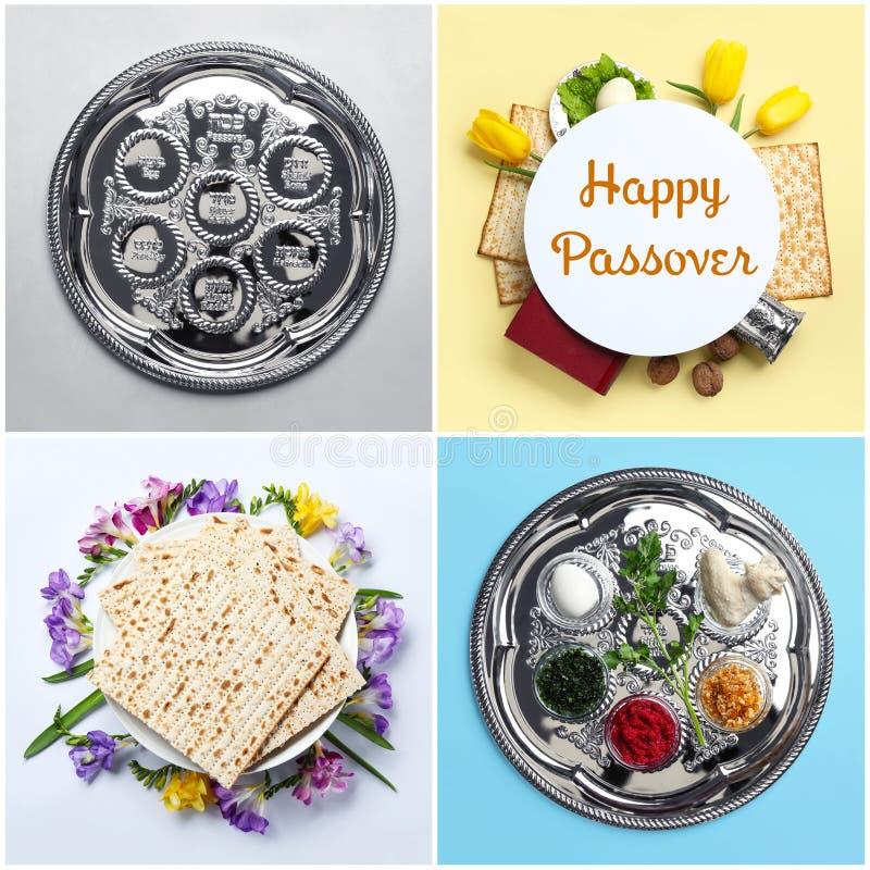 Collage de la comida y del dishware simbólicos de Pesach en el fondo del color, visión superior imagen de archivo