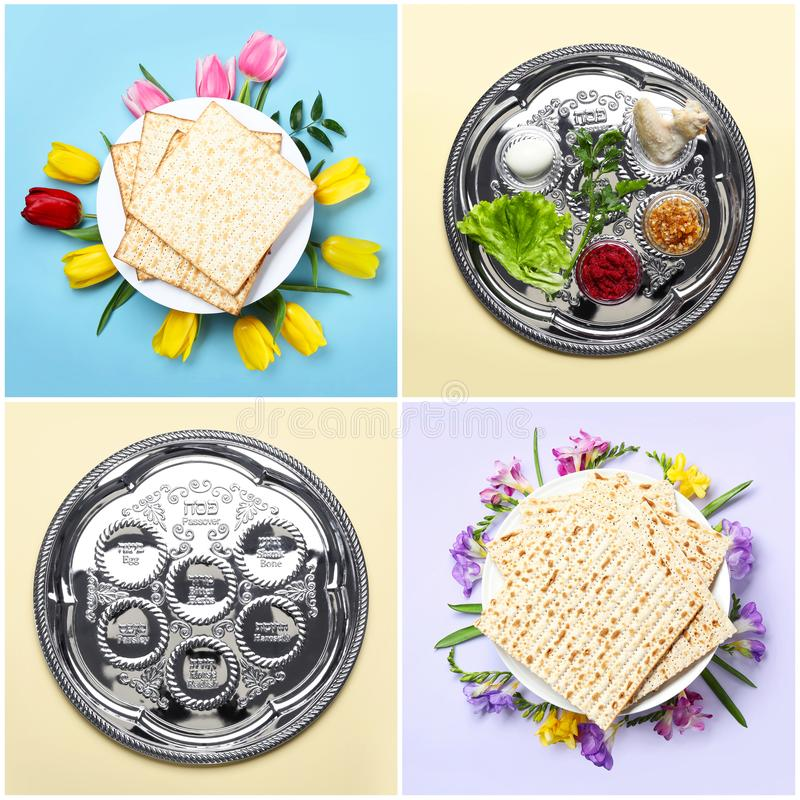 Collage de la comida y del dishware simbólicos de Pesach de la pascua judía fotos de archivo libres de regalías