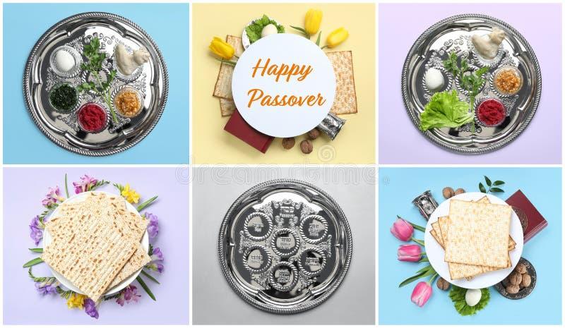Collage de la comida y del dishware simbólicos de Pesach de la pascua judía en fondo del color fotografía de archivo