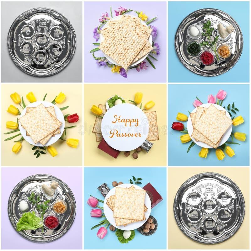 Collage de la comida y del dishware simbólicos de Pesach de la pascua judía en fondo del color imagenes de archivo