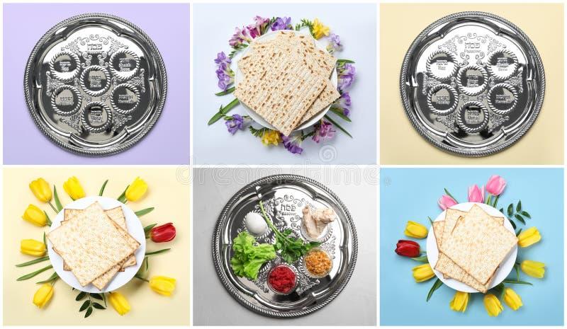 Collage de la comida y del dishware simbólicos de Pesach de la pascua judía en fondo del color foto de archivo