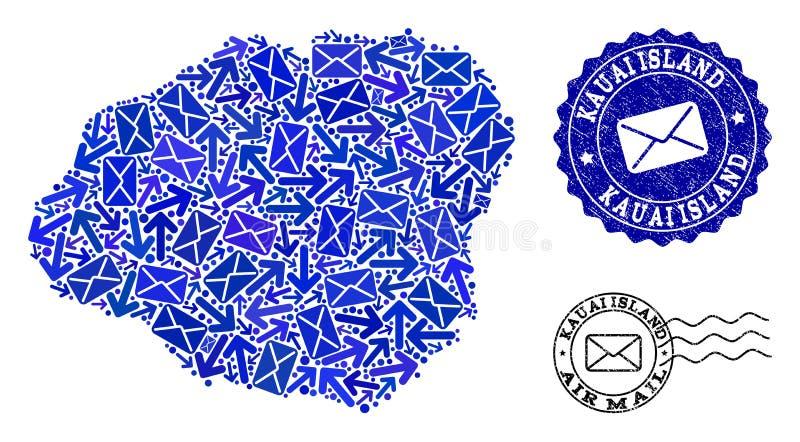 Collage de la comunicación del poste del mapa de mosaico de la isla de Kauai y de sellos rasguñados ilustración del vector