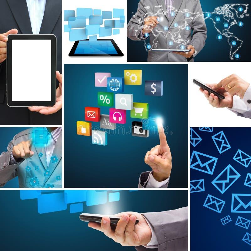 Collage de la conexión de la aplicación en las redes sociales globales ilustración del vector