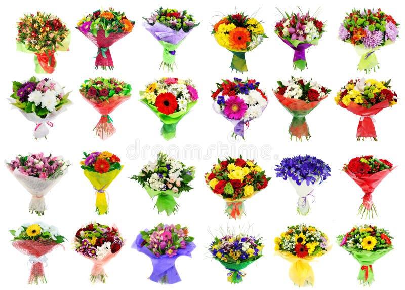 Collage de la diversa flor colorida, sistema de ramos imagen de archivo libre de regalías