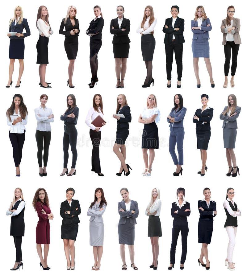 Collage de la empresaria moderna acertada Aislado en blanco fotografía de archivo libre de regalías