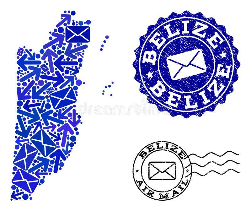 Collage de la entrega del poste del mapa de mosaico de Belice y de sellos texturizados libre illustration