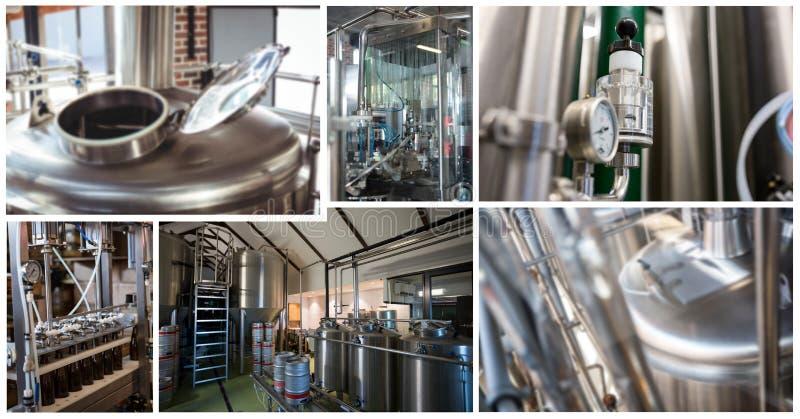 collage de la fábrica de la cervecería fotos de archivo libres de regalías