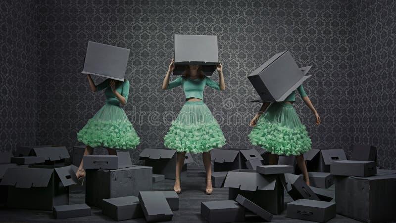 Collage de la foto de la bella arte de tres mujeres de moda imagen de archivo