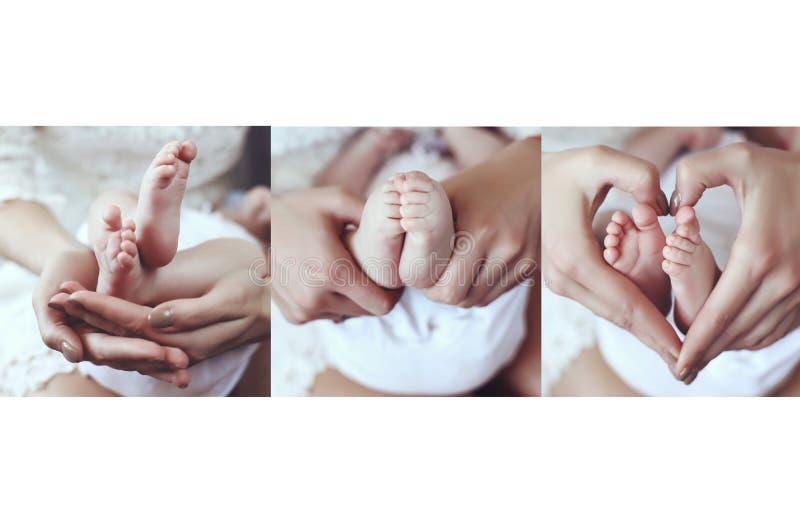 Collage de la foto de las fotos blandas de los pies lindos del bebé en las manos de la mamá fotos de archivo