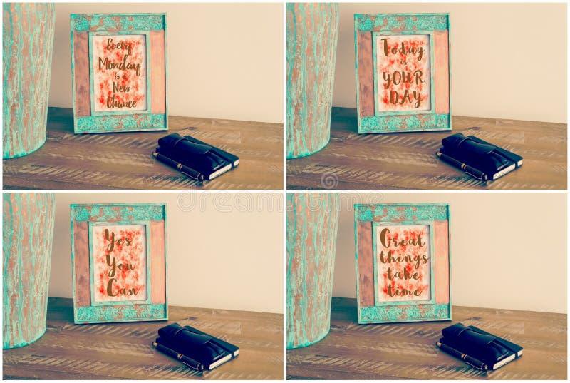 Collage de la foto de los bastidores de la foto del vintage con los mensajes de motivación imagen de archivo libre de regalías