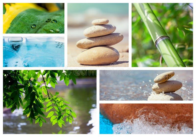Collage de la foto del tema del balneario integrado por diversas imágenes foto de archivo