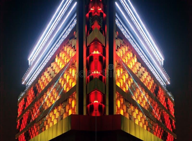 Collage de la foto de partes de un edificio moderno con la iluminación imagen de archivo