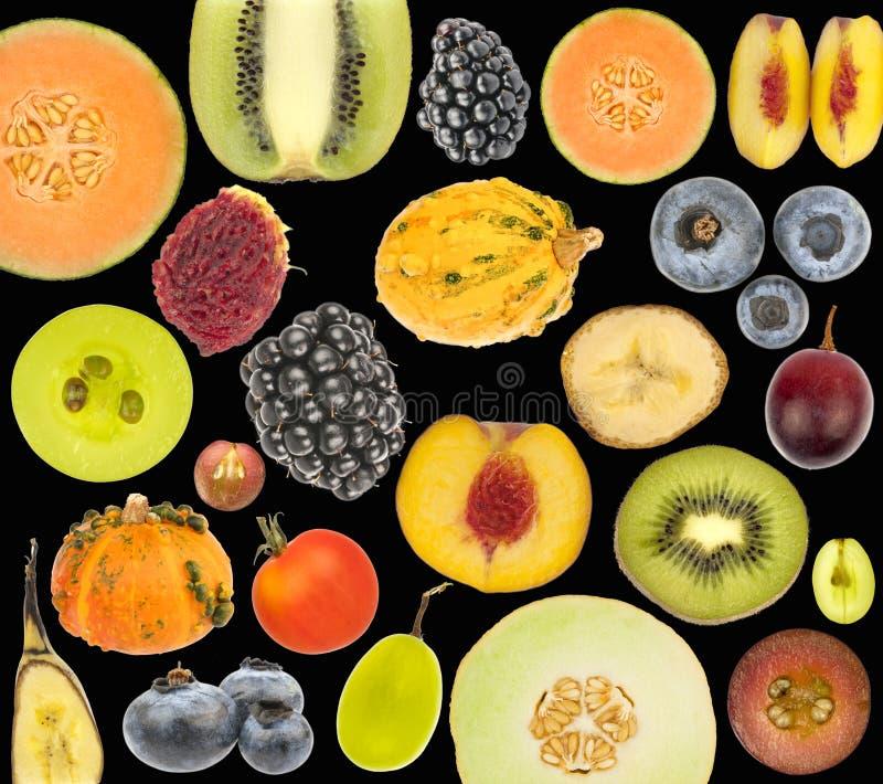Collage de la fruta aislado en negro imágenes de archivo libres de regalías