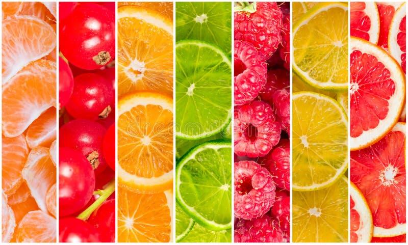 Collage de la fruta fresca del verano fotografía de archivo libre de regalías