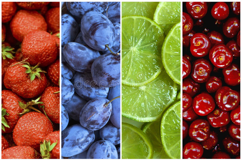 Collage de la fruta fresca del verano bajo la forma de rayas verticales imagenes de archivo