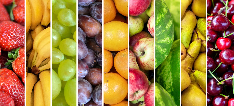 Collage de la fruta - grupo de diversas frutas frescas foto de archivo libre de regalías