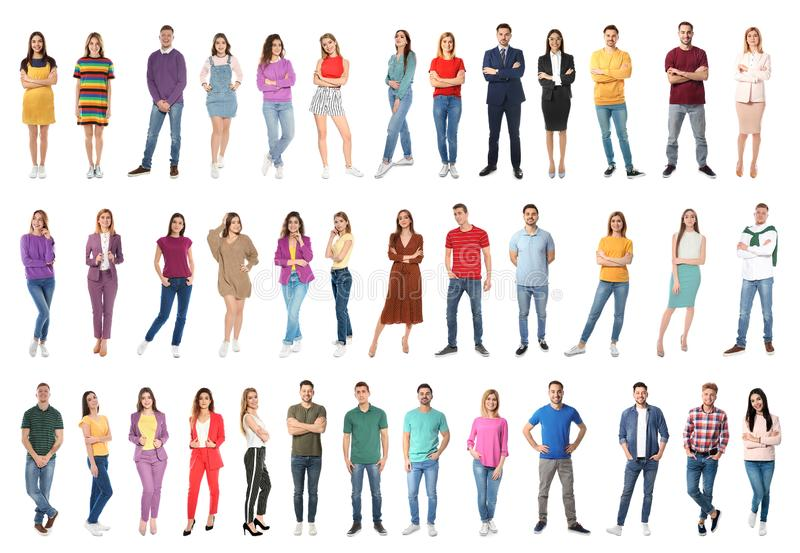 Collage de la gente atractiva en blanco imagenes de archivo