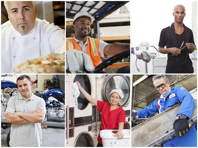 Collage de la gente con diversos empleos fotos de archivo