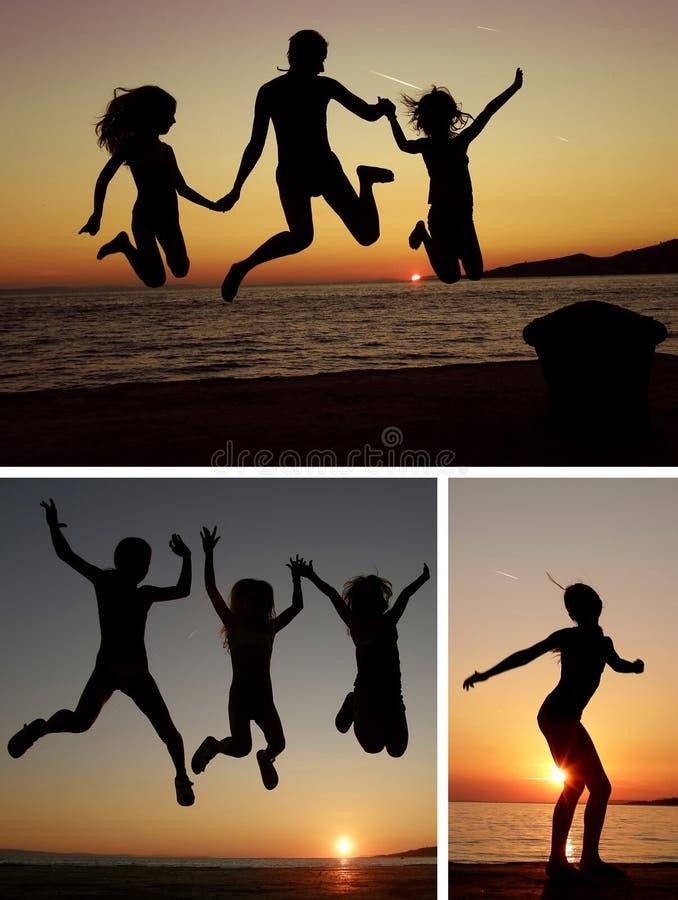 Collage de la gente de la puesta del sol imágenes de archivo libres de regalías