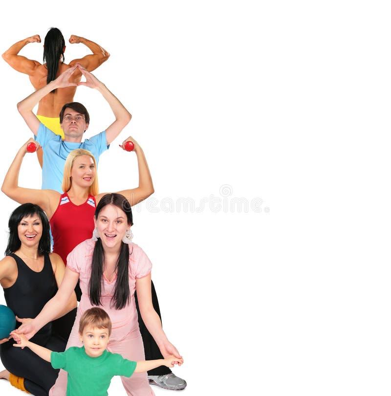 Collage de la gente del deporte con el espacio para el texto imagenes de archivo