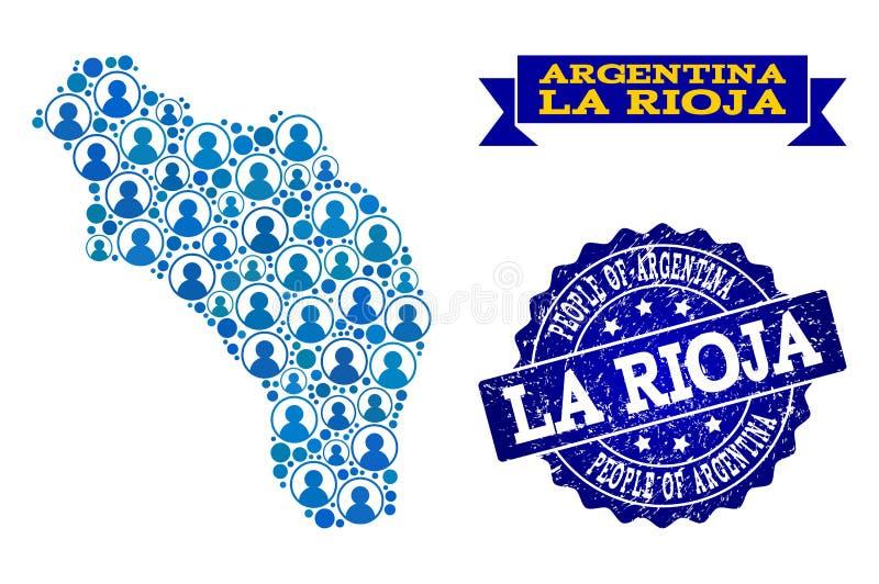 Collage de la gente del mapa de mosaico de la Argentina - de La Rioja y del sello rasguñado stock de ilustración