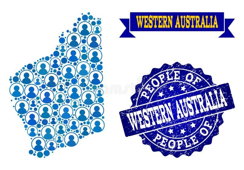 Collage de la gente del mapa de mosaico de Australia occidental y del sello texturizado del sello ilustración del vector