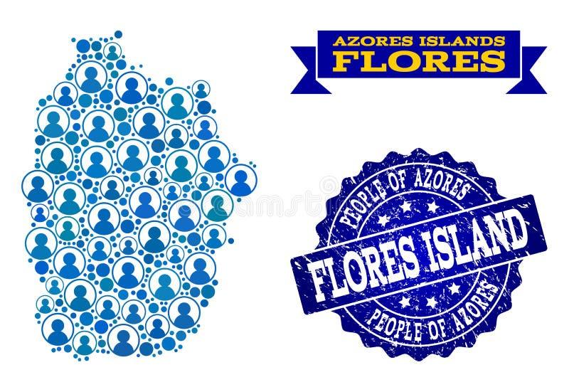 Collage de la gente del mapa de mosaico de Azores - de la isla de Flores y del sello de la desolación stock de ilustración