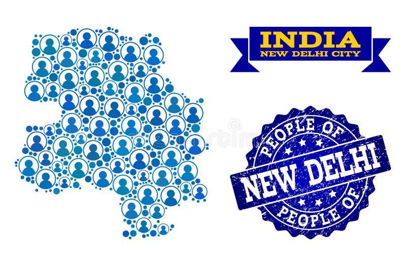 Collage de la gente del mapa de mosaico de la ciudad de Nueva Deli y del sello texturizado stock de ilustración