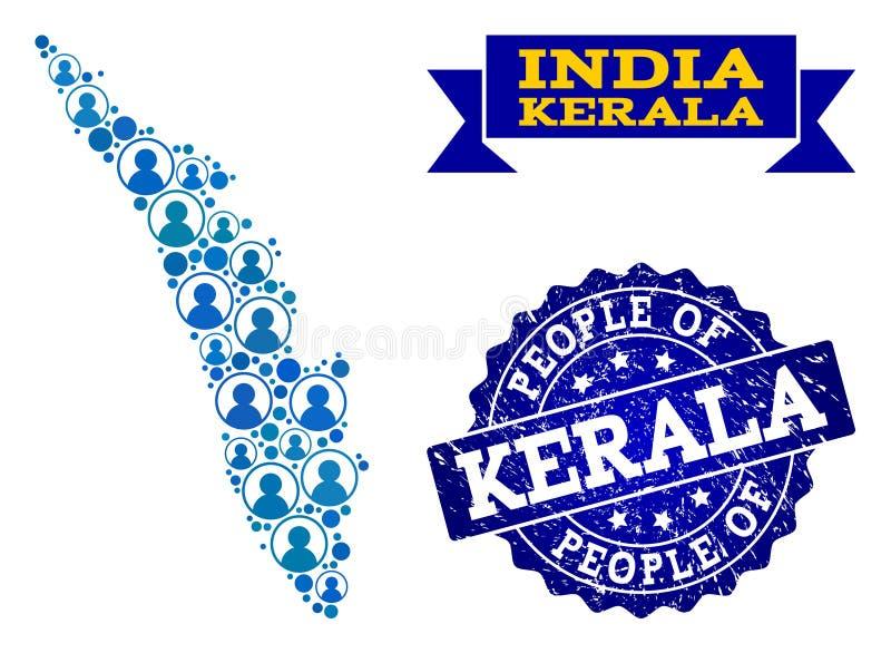 Collage de la gente del mapa de mosaico del estado de Kerala y del sello texturizado ilustración del vector