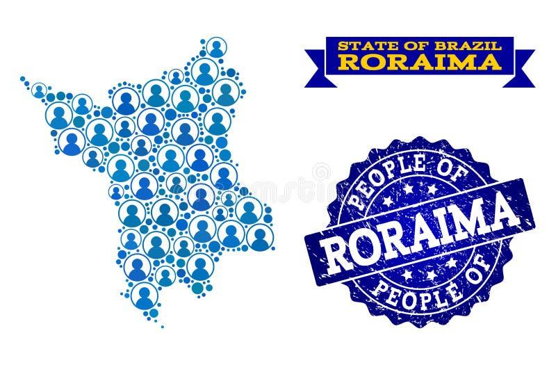 Collage de la gente del mapa de mosaico del estado de Roraima y del sello del sello del Grunge ilustración del vector
