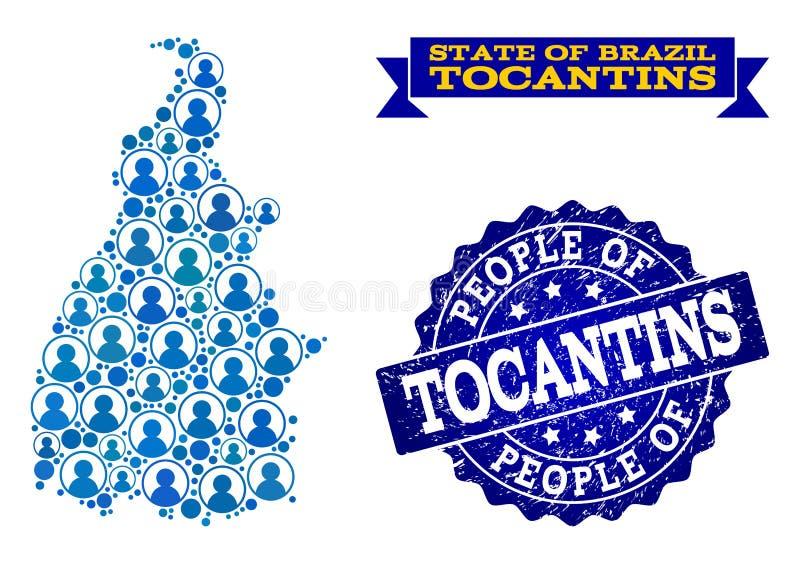 Collage de la gente del mapa de mosaico del estado de Tocantins y del sello texturizado del sello stock de ilustración